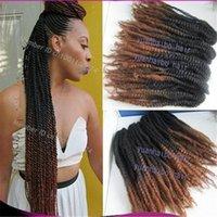 "Wholesale Top Kanekalon Hair - Top quality 20"" black brown two tone color kanekalon synthetic hair kinky twist ombre marley braid free shipping"