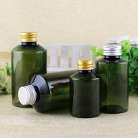 алюминиевая бутылка шампуня оптовых-50шт 50 мл / 100 мл / 150 мл / 200 мл зеленая пустая пластиковая бутылка из полиэтилентерефталата с алюминиевым колпачком, косметическое жидкое мыло для таблеток для шампуней Эфирное масло