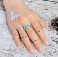 Wholesale man tibetan ring - 7pcs set Fashion Vintage Punk Bohemia Beach Rings For Women knuckle Ring Men Carving Tibetan Silver Joint Ring Set Jewelry Christmas Gift