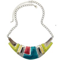 Wholesale Choker Plate - Fashion Jewelry 2016 Women Channel Necklace Ethnic Silver Plated Colorful Enamel Chunky Statement Choker Necklace