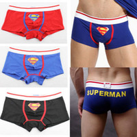 Wholesale Cartoon Black Man Underwear - Fashion Brand Men's Cotton Underwear Super Man Cartoon Boxers Comfortable Male Boxer Shorts Underpants Superman Panties Male Pantie
