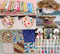 ingrosso dog collar bow-Commercio all'ingrosso 100pcs / lot 2017 New Mix 50 colori regolabile New Dog Puppy Pet bandane Collar sciarpa Bow tie Cotone più alla moda P01