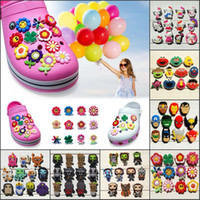 Wholesale Party Kitty - 11-12Pcs Lot Flowers Kitty PVC Cartoon Shoe Charms Ornaments Buckles Fit for Shoes & Bracelets ,Charm Decoration,Shoe Accessories Party Gift