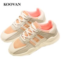 Koovan Fashion Women Running Shoe White Casual Shoes 2017 New Spring Autumn Flat Bottom Plate Shoes Coreano Frete grátis W380