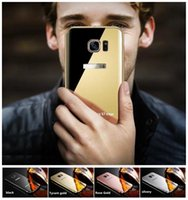 Wholesale Wholesale Case For Note2 - Electroplated mirror metal frame mobile phone shell For SamsungA7 A8 A510 A710 Note2 Samsung case 4 Color Samsung Mobile phone protective