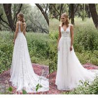Wholesale Heavy Bridal Satin Wedding Dress - Limor Rosen 2017 Heavy Lace Wedding Dresses Plus Size Deep V-Neck Sheer Straps Vintage Garden Bohemia Beach Bridal Gowns Custom Made