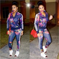 Wholesale Hot High Collar Top - Hot Selling Spring&Autumn Fashion Tracksuit Women Bodycon Casual Print Playsuit Top And Full Length Pants Two Piece Outfit AT115