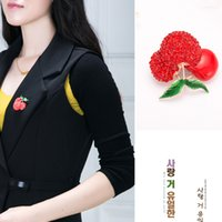 Wholesale Wholesale Cherry Scarf - Fashion 18K Gold Wedding Red Cherry Brooches Suit Collar Pin Hijab Pins Up Women Dress Scarf Clips Sweet Fruit Jewelry Corsages
