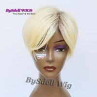 Wholesale Top Kanekalon Hair - New Arrival African American Blonde Hairstyle Wig, Top Quality Kanekalon Hair Short Straight Blonde Color Wigs with Dark Roots