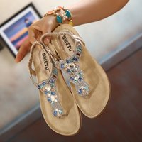Wholesale Elastic Strap Gladiator - Hot Summer Women Sandals Crystal Comfortable Seaside Breathable Flip Flops Beach flat Woman Shoes Platform chaussure femme