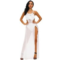 Wholesale Transparent Maxi Skirt - 2017 new round neck sleeveless tulle transparent halter print skirt open fence exposed thigh dress ZY20
