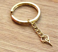 Wholesale Diy Nail Jewelry Accessories - Gold flat key ring with extension chain with sheep eye nail screw jewelry key chain pendant DIY accessories key chain