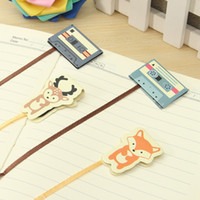 Wholesale Lovely Animal Tape Design Magnetic Long Tail Bookmarks With Ribbon Books Marker of Page Stationery Office Supply Kids Rewarding