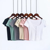 Wholesale Ribbed Tanks - New Women T-Shirts Rib Knitted Cotton Deep Neck Short Sleeve T Shirts Ladies Sexy Crop Tops Single Buttons Tops Tees