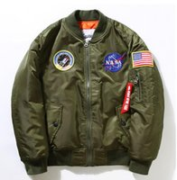 Wholesale Military Jacket For Thin Men - NASA Navy flying jacket for Men MA1 Bomber Jacket thin section Insignia USAF Coats Male Jacket Embroidery flag Baseball Military coat