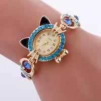 Wholesale Cat Watches For Women - 2017 fashion luxury women metal alloy cat design bracelet watch ladies casual dress quartz Rhinestone Party watches for women