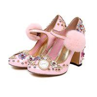 Wholesale Dress Princess Halloween Women - Brand Luxury chunky heels buckle strap women princess shoes flower drill rhinestone pump sweet round toe spring autumn
