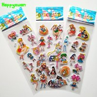 Wholesale Sticker Sheets Girls - Happyxuan 50 sheets lot Cute 3d Cartoon Sailor Moon Puffy Stickers Learning Early Kids Girls Classic Toys