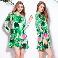 Wholesale Cheap Canvas Printing China - 2017 New Women Summer green Lotus leaf flowers China style Leisure time Easy Printing Fashion Casual Dresses Mix order Short sleeve Cheap