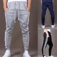 Wholesale Plus Size Vertical - 3 Colors Plus Size Pop Dynamic Men Casual Sports Loose Pants Vertical Strip Pants Jogging Slacks CL052