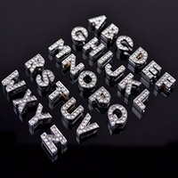 Wholesale Cards Dogs - 10mm Zinc Alloy Silvery Color A-Z Full Diamond Letters Charming DIY Dog Tag ID Card Fit Pet Collar Necklace&Bracelets Phone Charms Mix Order