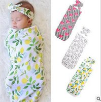 Wholesale Character Sleeping Bags - Babies kids sleeping bag baby girls boys lemon printed swaddle+bows hair bands 2pc sets Newborn cute cat muslin blanket Infant blanket T0183