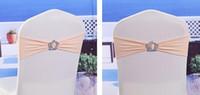 royal schärpe farben großhandel-50pcs königlicher Spandex-Ausdehnungs-Stuhl-Band mit Plastikkronen-Wölbung 43 färbt elastischen Lycra-Stuhl-Schärpen für Hochzeits-Bankett-Partei