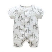 Wholesale Summer Romper Cartoon - baby romper New 2017 Cartoon Giraffe soft Cozy Short Sleeve Boys Onesie Summer Cotton Printed Newborn Bodysuit Infant Jumpsuit C851
