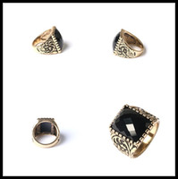 Wholesale antique mens rings resale online - New luxury mens ring gold silver plated violent ring for men Antique Vintage Retro Black Onyx gem finger Rings fashion jewelry