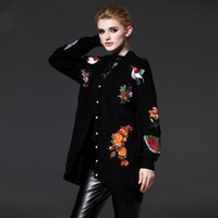 Wholesale New Fashion Autumn Winter Women Knitted Long outwear Cardigans Sweaters embroidered flowers tiger Coat