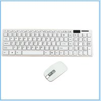 Wholesale White Slim Laptops - 10pcs Mini Ultra Slim Wireless 2.4GHz keyboard and Mouse Kit For Desktop Laptop PC Black and White option with retail package
