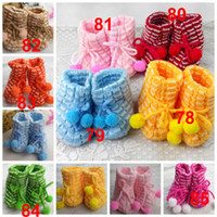 Wholesale Crochet Baby Shoes Free - 0-1 years old free size indoor Warm hand knitting baby prewalker shoes