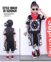 Wholesale Wholesale Hiphop Pants - Most popultar girls Str-Dance clothing hiphop two peices short tshirts and pants new design dance wear for summer