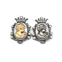 Wholesale Wedding Corsage Man - Men Jewelr Vintage Victoria Brooch Pin Rhinestone Crown Queen Head Portrait Brooches Corsage for Women Jewelry Lot 12 Pcs