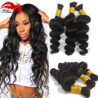 Wholesale Brazilian Remy Bulk Hair Bundles - Premium No Attachement Bulk Hair 3 bundles 150gram Cheap Loose curly No Weft Virgin remy Human Remy Hair Braiding Wholesale