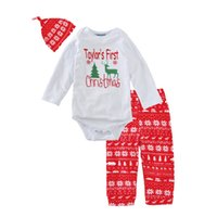 3pcsBaby Boys First Christmas Outfit Baby Girls Lovely Hat + Romper + Брюки Три части Set Toddler Одежда Костюм