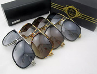 Wholesale Cat Retro Sunglasses - Brand sunglasses 2017 grandmaster five men brand designer sunglasses retro vintage shiny 18Kgold coating mirror lens big frame original case