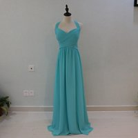 Wholesale One Shoulder Teal Dresses - 2017 Cheap Long Chiffon Teal Mint Green Bridesmaid Dresses In Stock Summer Beach Wedding Party Gowns Plus Size Vestidos madrinha