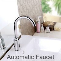 Wholesale Hot Cold Water Sensors - Wholesale- 100%Brass Automatic Sensor Faucets Cold and Hot Water Mixer Sense Faucet Basin Hand Washer DC6V AC110~220V