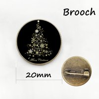 Wholesale Wholesale Merry Round Gift - Glass Dome Vintage Christmas Tree brooch pins Snowflake art Merry Christmas gift brooches 2017 men women Xmas jewelry