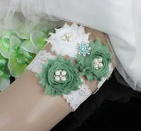 Wholesale Green Wedding Garters - Exquisite Full Lace Bridal Garters for Bride Lace Wedding Garters Black Purple Green Cheap Wedding Leg Garters In Stock