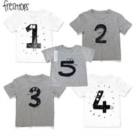 Wholesale Cartoon Babies Numbers - INS Baby Girls Boys T Shirts Children Birthday Number T Shirts Cotton Cartoon Tees For Kids Summer Clothing