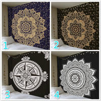 Wholesale Indian Style Decor - 22 Styles Large Size Mandala Flower Tapestry Indian Bohemia Hanging Wall Polyester 200cmx148cm Boho Home Decor Picnic Blanket Beach Towel