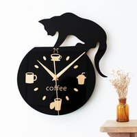Wholesale Wall Coffee Clocks - Wholesale- Home Decor Cartoon Lovely Black Cat Fashion Design Popular Round Kitchen Coffee Cup Bean Wall Clock Silent Non-tickingWall Clock
