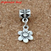 Wholesale 25mm Beads Silver - MIC 100pcs   lot Dangle Ancient silver flower Charms Big Hole Beads Fit European Charm Bracelet Jewelry 9.5*25mm A-119a