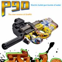 Wholesale Toy Assault Guns - 2017 New p90 graffiti electric car toy guns funny free toys children live cs assault gun soft water bullet burst gun for boys gift