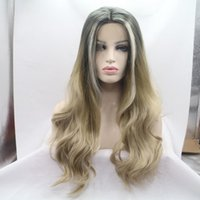 Wholesale Good Synthetic Lace Front Wigs - Quality Good Synthetic Black Root To Linen Color Ombre Lace Front Wig Long Wavy Wigs Free Shipping