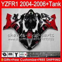 yzf r1 kit de carenagem chama venda por atacado-8Gift 23Color Corpo Para YAMA YZF R 1 YZF 1000 YZFR1 04 05 06 58HM16 YZF-R1000 chamas vermelhas YZF-R1 YZF1000 YZF R1 2004 2005 2006 Kit de Carenagem