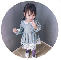 Wholesale New American Girl Doll Clothes - Baby Girls Dresses Kids Appliqued Floral Printed Dress Child Doll Collar Flare Sleeve Princess Dresses Autumn New Girls Clothing G1184