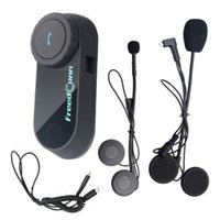 intercomunicador bluetooth großhandel-FreedConn Motorrad Interphone Wasserdicht Bluetooth Helm Headset für Fahrer und Soziussitz Helm Intercom Casco Intercomunicador